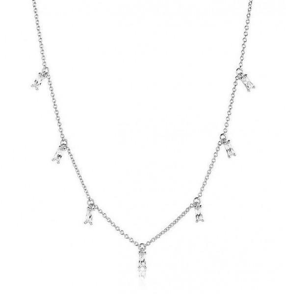 Sif Jakobs Damen Halskette Princess Baguette 925er Silber mit weissen Zirkonia