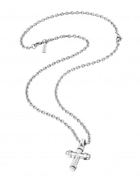 POLICE Herrenhalskette in Silber mit Kreuzanhänger Blaze