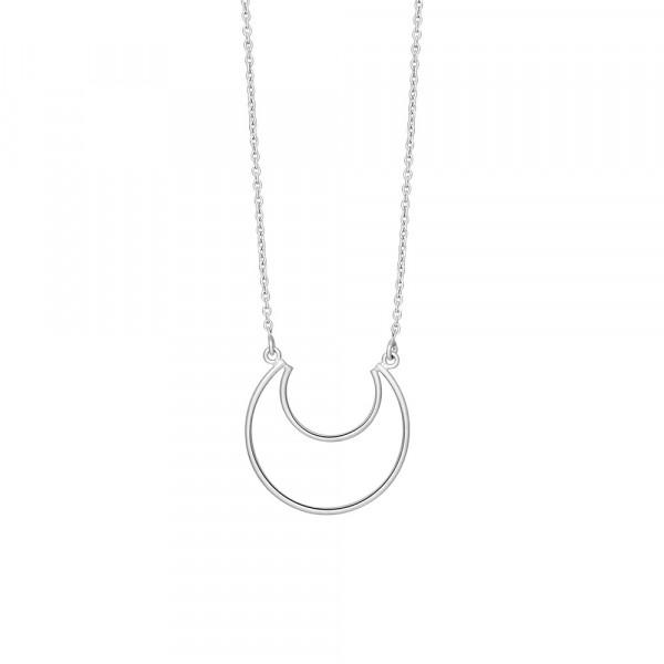 Rhodinierte Silber Halskette MOON 24mm - 70cm