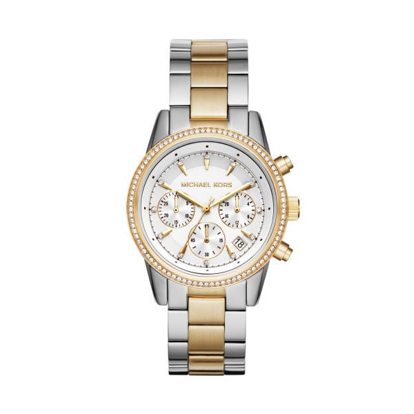 Michael Kors Uhr Damen Chronograph Edelstahl Bicolor