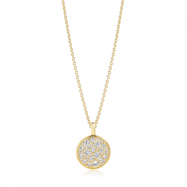 Sif Jakobs Damen Halskette Novara 18K vergoldet mit weissen Zirkonia