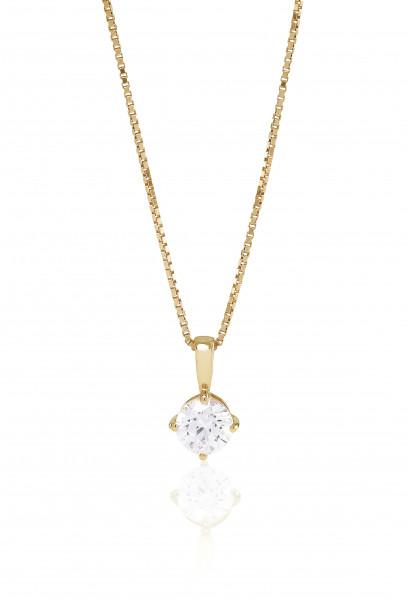 Damenhalskette Halskette Princess Round mit weißen Zirkonia