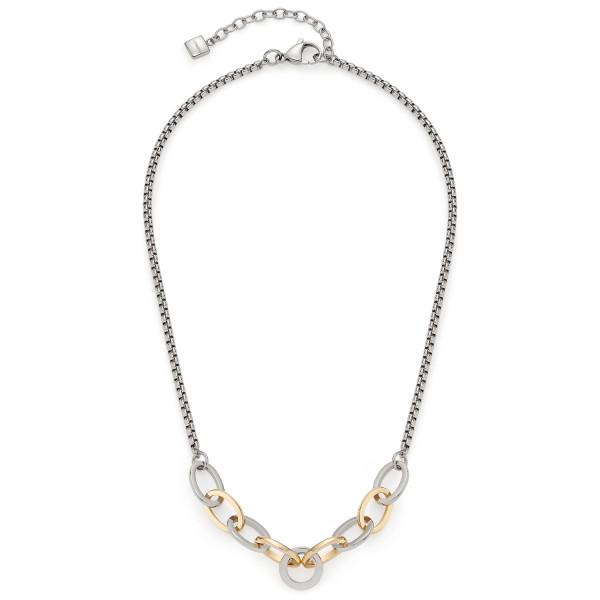 Damen-Halskette, LEONARDO Edelstahl teils goldfarben opulente Kettenglieder Bicolor 48 cm Ronia