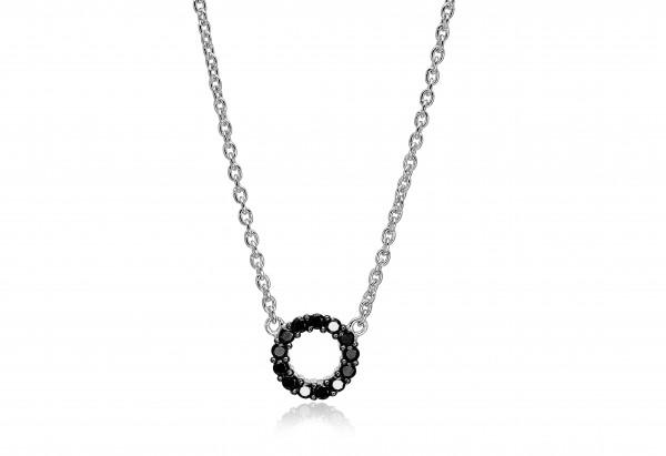 Sif Jakobs Damen Halskette Biella Piccolo 925er Silber mit schwarzen Zirkonia