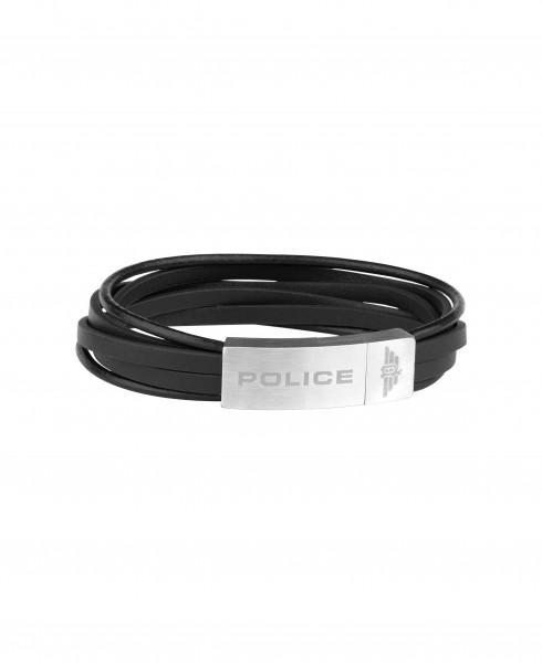 POLICE Herrenarmband in schwarzen Leder Gozo