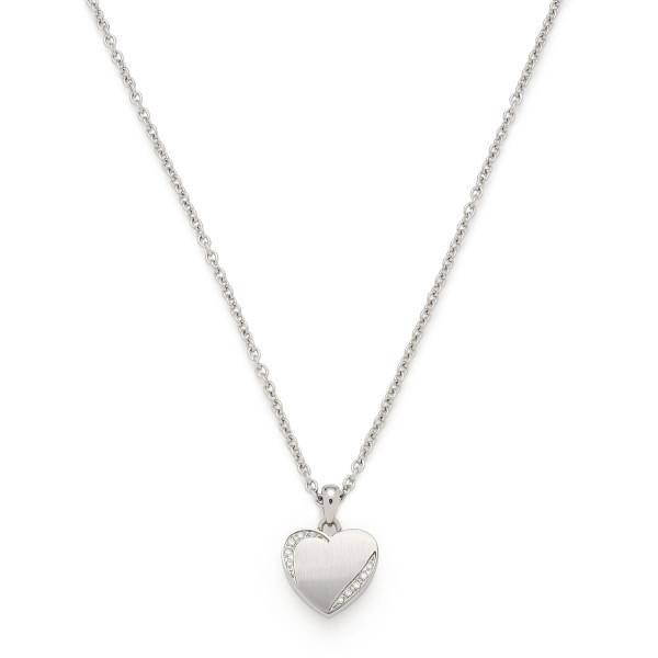 Damen-Halskette, JEWELS BY LEONARDO Edelstahl Zirkonia-Steinchen Herz-Anhänger 40cm Grazia