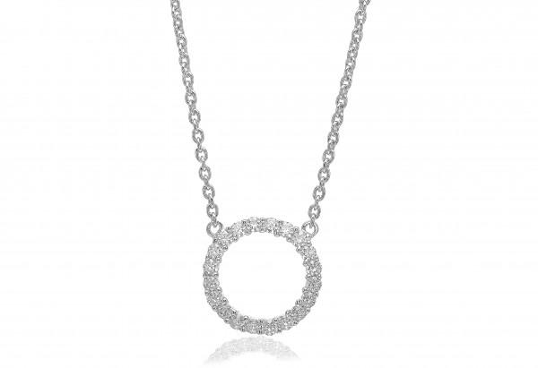 Sif Jakobs Damen Halskette Biella Grande 925er Silber mit weissen Zirkonia