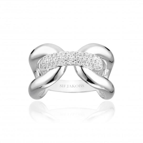 Sif Jakobs Damen Ring Capri Tre 925er Silber mit weissen Zirkonia