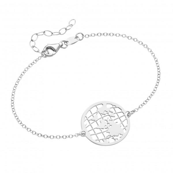 Da-lino Damen Armband in 925 Silber mit Weltkugel