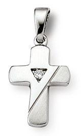 Kreuzanhänger 925 Silber Zirkonia weiss 15mm
