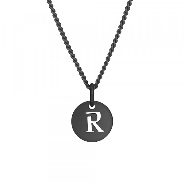 """Oxidierte Silber Halskette """"R"""" 10mm 42+3cm"""