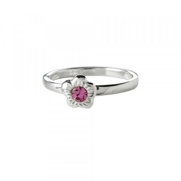 Kinder-Ring, NOA KIDS JEWELLERY silber rhod. mit Blume und rosa Zierstein