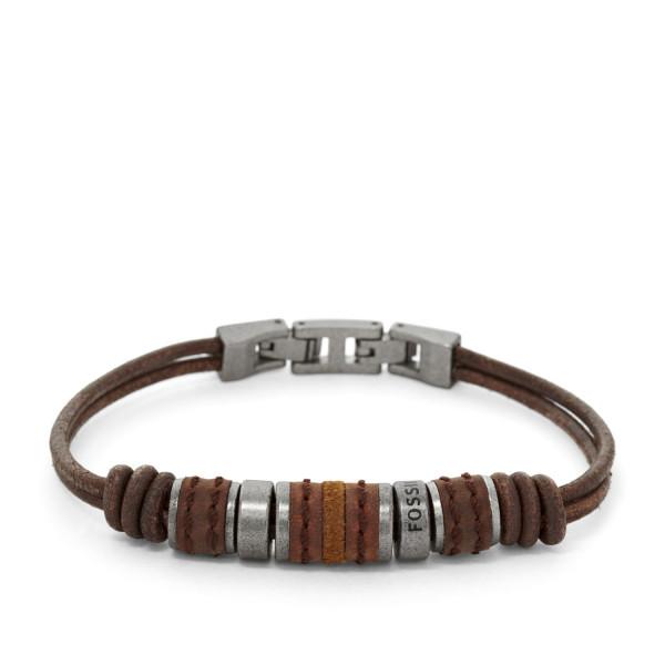 Fossil Herren Armband Rondell Leder Braun