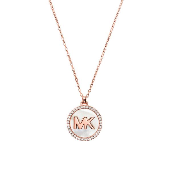 Michael Kors Damen Halskette rosévergoldet mit Anhänger und Perlmutt