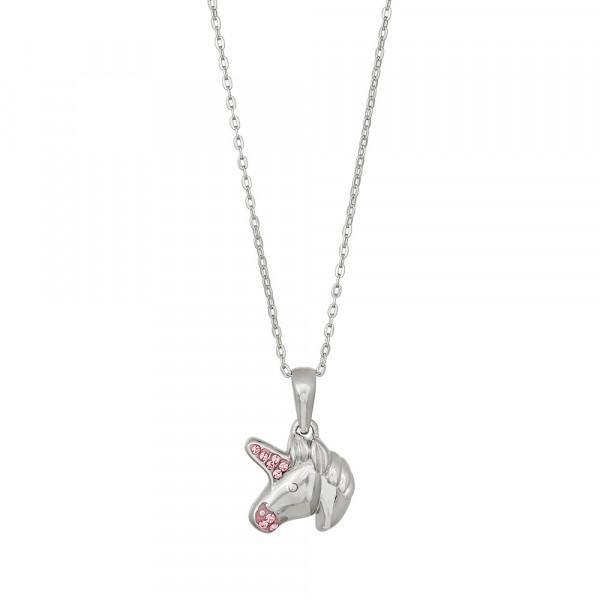 Kinder-Halskette Rhod. Silber mit Zirkonia in rosa
