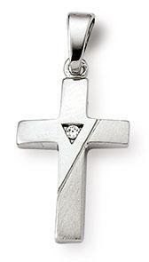 Kreuzanhänger 925 Silber Zirkonia weiss 17mm
