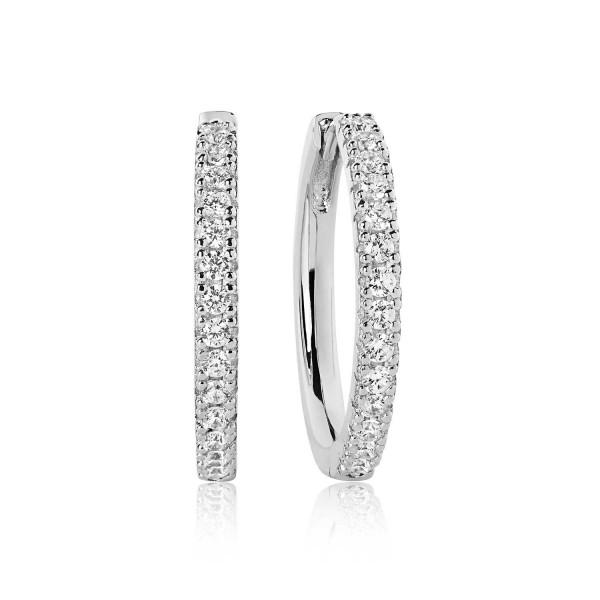 Sif Jakobs Creolen groß Damen 925er Silber mit weißen Zirkoniasteinen