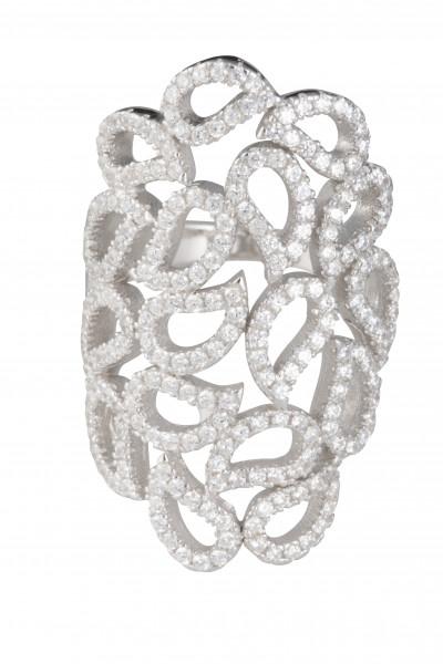 Damenring Silber rhodinierter Ring ALAINE mit Zirkonia