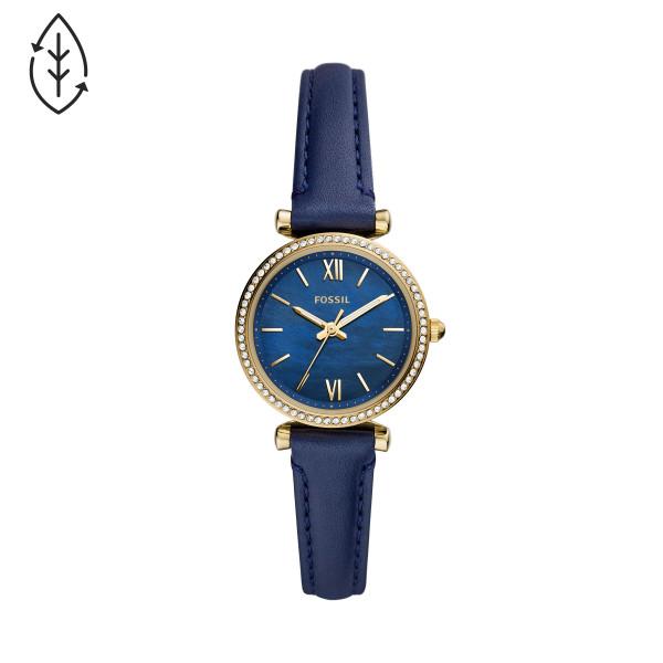 Fossil Uhr Damen Carlie Mini 3-Zeiger-Werk Leder dunkelblau