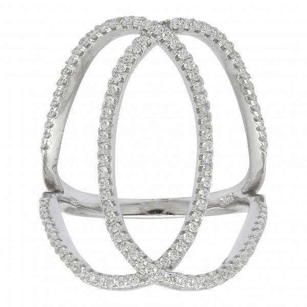 Joanli Nor Damenring Silber rhodinierter Ring ALAINE 2 Kreise