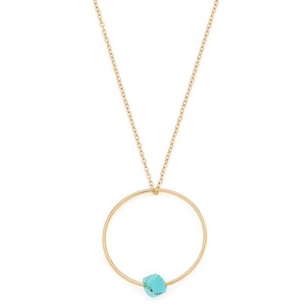Damen-Halskette, CIAO! BY LEONARDO Edelstahl goldfarben Anhänger mit synthetischen Türkis 60 cm Elen