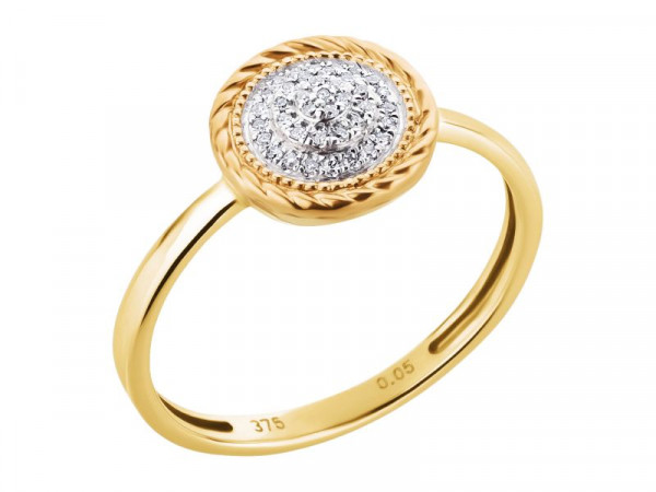 Damen-Ring, DALINO 375 Gold bicolor 0,05 ct Diamanten