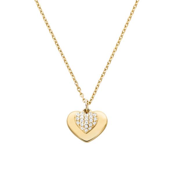 Michael Kors Damen Halskette vergoldet mit Zirkonia Herz Anhänger