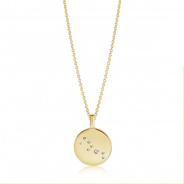 Sif Jakobs Damen Halskette Stier Sternzeichen Zodiaco 18K vergoldet mit weißen Zirkonia