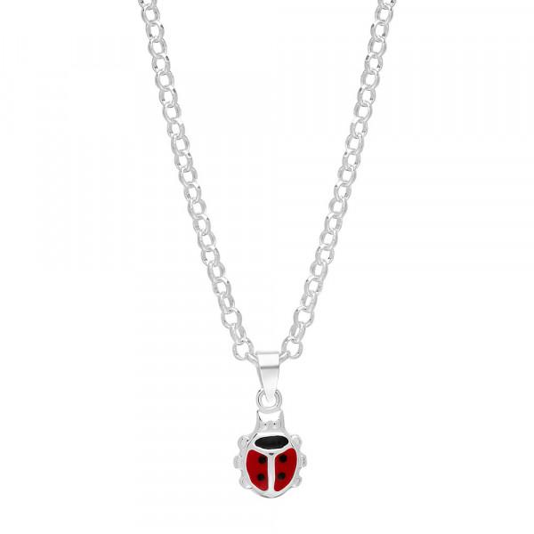 Kinder-Halskette Rhodinierte Silber 12mm Marienkäfer