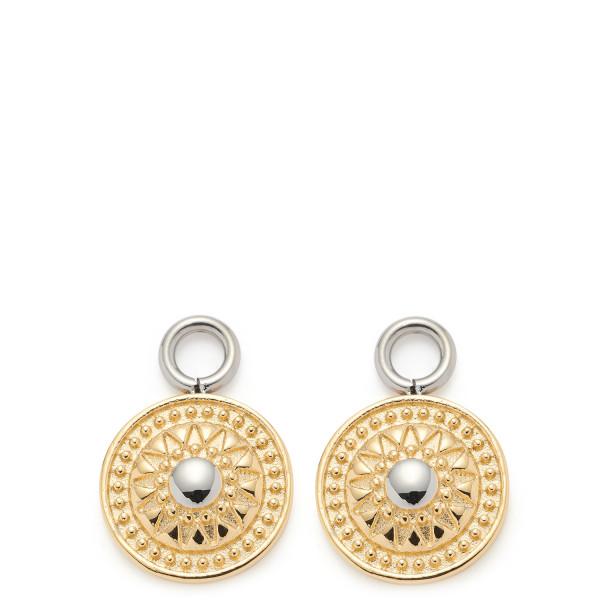 Damen-Ohrringe Set Anhänger, LEONARDO Edelsathl goldfarben Münzanhänger 12/18/2mm Romena Beauty's