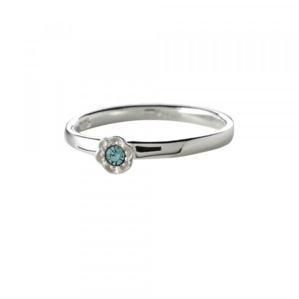Kinder-Ring, NOA KIDS JEWELLERY silber rhod mit Blume und blauem Zirkonia