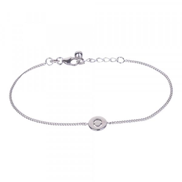 """Rhodniertes Silber Armband """"O"""" 8mm 17+2cm"""