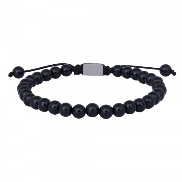 SON of NOA Herren-Armband Armband glänzend schwarzer Onyx 21cm