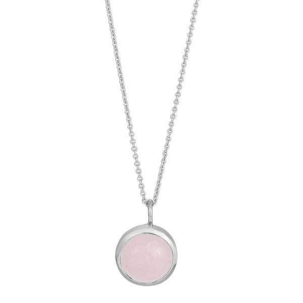 Rhod. Silber Halskette SWEETS Rosenquarz 11mm