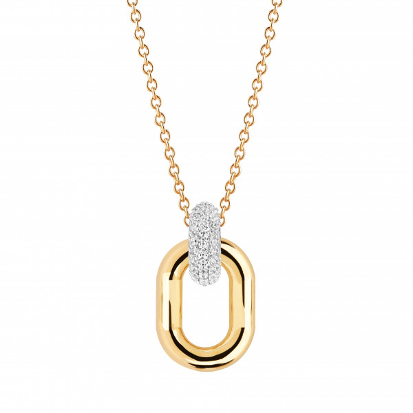 Sif Jakobs Damen Halskette Capri Due 18K vergoldet mit weißen Zirkonia
