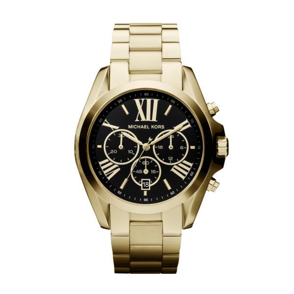 Michael Kors Uhr Damen Chronograph in Gold Schwarz Edelstahl