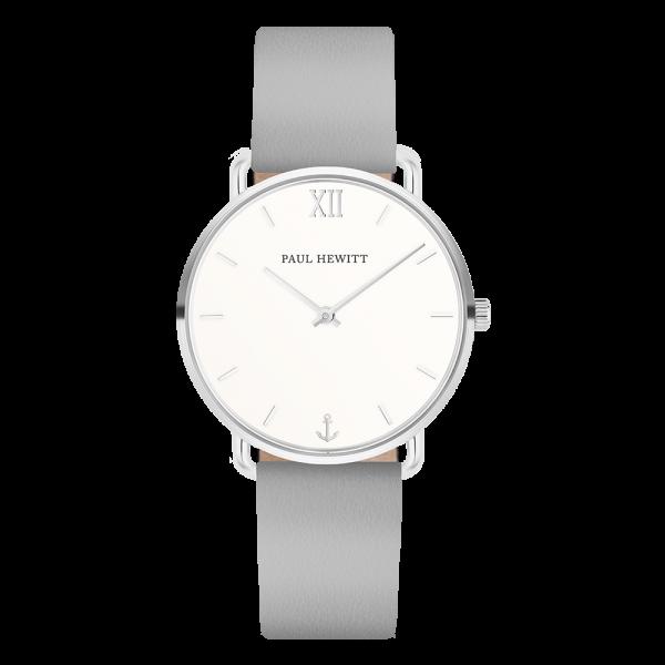 Paul Hewitt Uhr Damen Miss Ocean White Sand Silber Leder Graphite