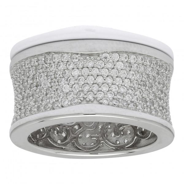 Damenring Rhodinierter Silber Ring ALAINE mit Zirkonia 11mm