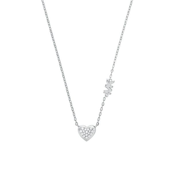 Michael Kors Damen Halskette 925er Silber Anhänger Herz