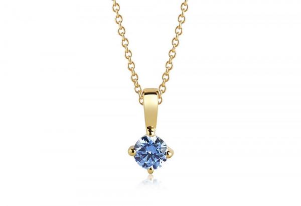 Sif Jakobs Damen Halskette Princess Round18K vergoldet mit blauen Zirkonia