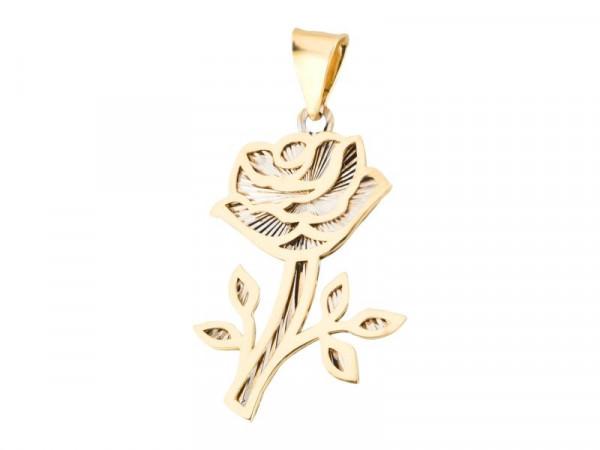 Anhänger Rose-Blume aus 333 Gold bicolor