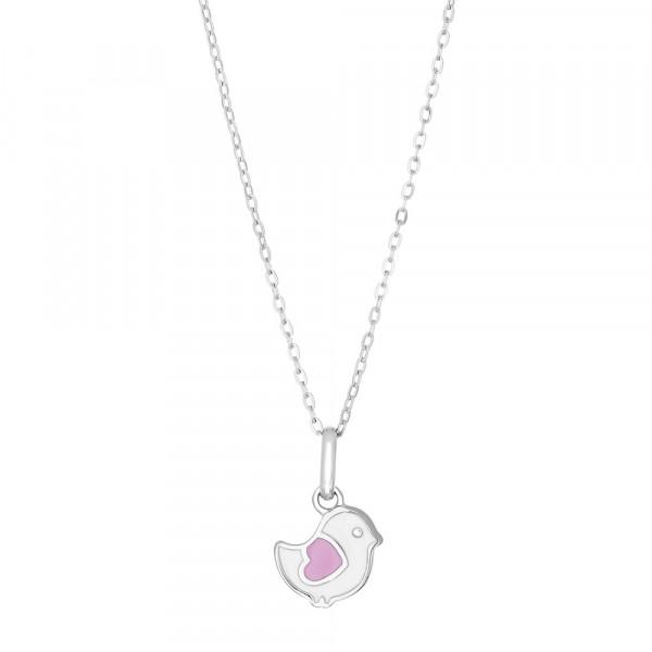 Kinder-Halskette Rhod. Silber Vogel mit pinken Herz