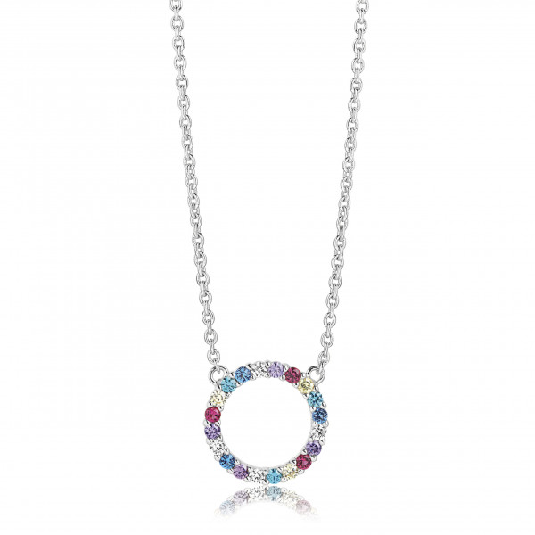 Sif Jakobs Damen Halskette Biella Grande 925er Silber mit Bunten Zirkonia-Copy