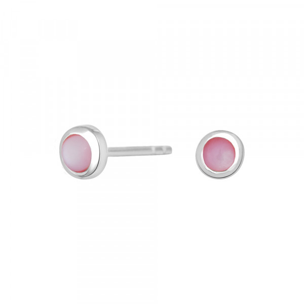 NOA KIDS JEWELLERY Kinder-Ohrstecker silber rhod. mit rosa Emaille