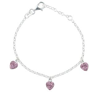 Kinder-Armband 925 3 Herzen mit rosa Zirkonia