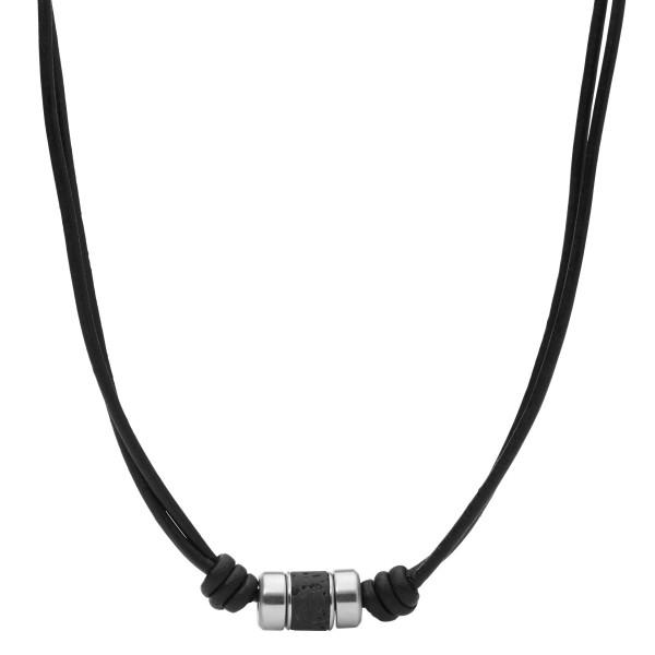 Fossil Halskette Herren Lavastein Edelstahl