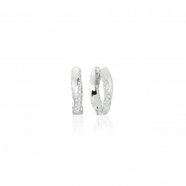 Sif Jakobs Damen Ohrringe Creolen Ferrara Piccolo 925er Silber mit weißen Zirkonia