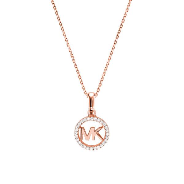 Michael Kors Damen Halskette rosévergoldet mit Zirkonia