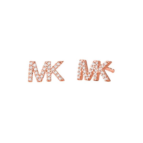 Michael Kors Damen Ohrstecker Premium mit funkelnden Zirkonia und Logo rosévergoldet