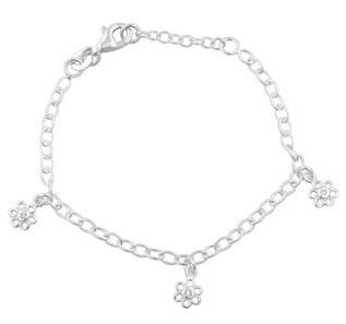 Kinder-Armband, NOA KIDS JEWELLERY silber mit drei Blumen